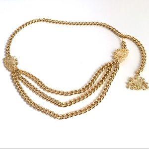 Vintage 90's Gold Chain Belt Medallion Layered